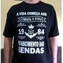 Camisetas Preta A Vida Começa Aos Sessenta 60 Anos De Idade