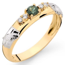 Anel Formatura Em Ouro 18k, Turmalina Verde E Diamantes Ar2