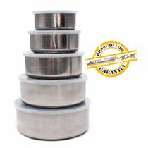 Conjunto De Potes Tigelas Inox 5 Peças C/ Tampa Plástica