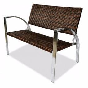 Cadeira Namoradeira Moderna De Aluminio E Fibra Decoração