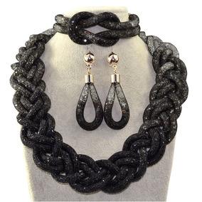 Set Collar Aretes Pulsera Gradiente Negro Brillante Elegante