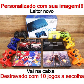 Playstation 2 Slim Desbloqueado + 02 Controles 10 Jogos Ps2