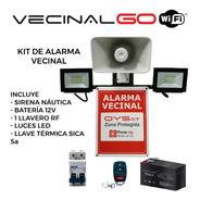 Kit Alarma Vecinal Vecinalgo Wifi Led Térmica Sirena Bateria