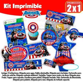 Kit Imprimible Capitan America Piñata Mesa De Dulces Postre