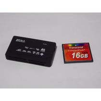 Cartão Memória Compact Flash 16gb Transcend + Leitor Usb