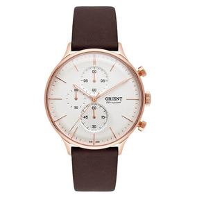 Relógio Orient Masculino Clássico Rosê Couro Cronógrafo
