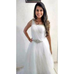 Vestido De Noiva, Novo, Branco Perolado, Regulagem Atrás