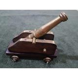 Canhão Replica Militar Em Bronze Com Base Em Madeira