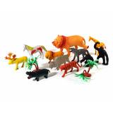 Kit Brinquedo Miniatura Animais Selva Selvagens Borracha