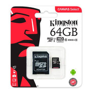 Tarjeta Memoria 64gb Kingston Micro Sd Xc Canvas Select