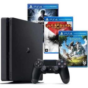 Playstation 4 Slim Sony 1tb Ps4 Original C/ 3 Jogos Inclusos