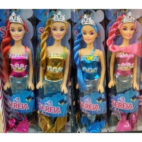 Kit 10 Bonecas Barbie Sereia Com Coroa E Calda De Sereia