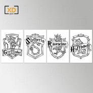 Kit 4 Placas Decorativa Quadro Harry Potter Casas Grifinólia Sonserina Corvinal Lufa Lufa 20x30cm