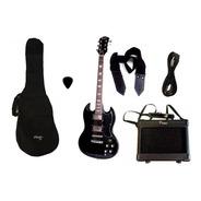 Combo Guitarra Electrica Parquer Sg Negra Amplificador 5w