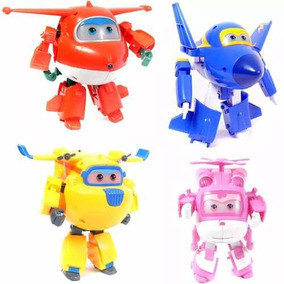 Kit Com 4 Avioes Super Wings Transforma Brinquedos Musical