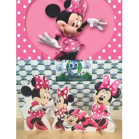 Kit Display Minnie Rosa 8 Peças + Painel 1,5x1,2 Mod2 Totens