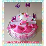 Torta Hello Kitty Con Masa Elástica - 24-26 Tajadas Aprox.