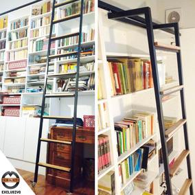 veilot escalera de hierro para biblioteca escalones madera