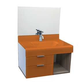 Pia P/ Banheiro Lavatório De Vidro Stetiun 70 X 46cm Laranja