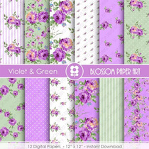 Kit Imprimible Violet & Green 12 Fondos Ver Promo