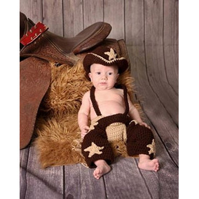 Conjunto Newborn Cowboy E Cowgirl Croche - Prop Peão Rodeio