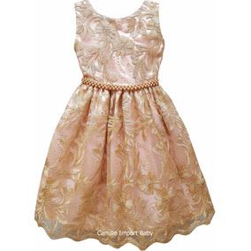 Vestido Rosa E Dourado Princesa Casamento Daminha Chique