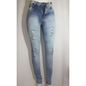 Calça Jeans Desfiada Super Skinny Cintura Alta Feminina