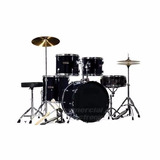 Bateria 5pz Negra Tambores Platillos Banco Greggs Percussion