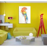 Cuadro Guacamayo Rojo Ave Fauna Watercolor Loro Parrot 60x90