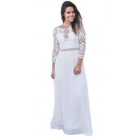 Vestido Blanco Manga Larga Crochet Encaje Fiesta Boda Moda