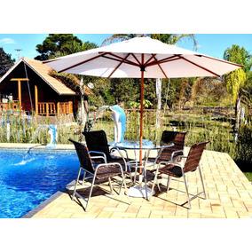 Jogo 4 Cadeiras E Mesa + Ombrelone Para Piscina Jardim Sala