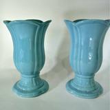 Par Vasos Taça Azul Porcelana Esmaltada Tulipa Flora 22x13