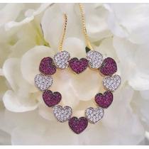 Coração C/corrente Ouro 18 Kilates Com Diamantes E Rubis
