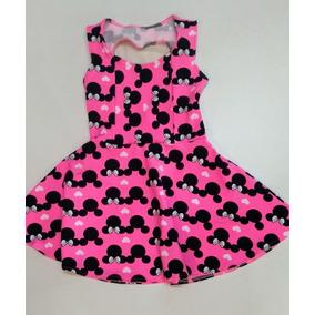 Vestido Infantil Menina Festa Personagens Minnie Barbie Fem