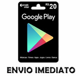 Cartão Google Play Store Gift Card R$20 Reais Br Android