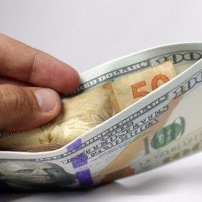 Carteira Super Slim Modelo 100 Dolar Dinheiro Cartão Lona