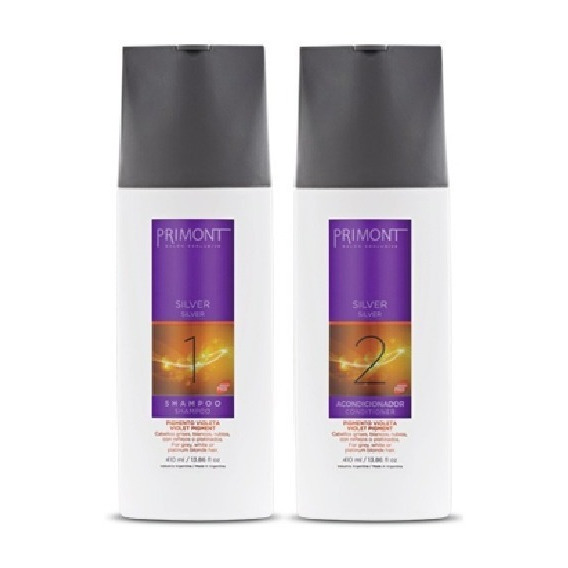 Kit Matizador Shampoo Acondicionador Silver Primont X 410ml