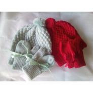 2 Conjuntos Touca E Luvinhas Para Bebês Recém Nascido