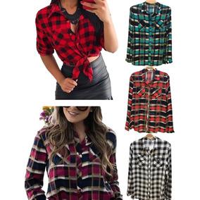 Camisa Xadrez Feminina Em Viscose Blusa Inverno