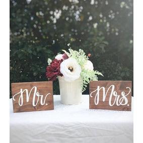 Cartel Para Silla Novios Casamiento Sr Sra Mr Mrs Bodas X2