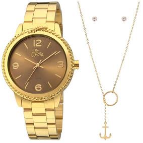 Relógio Allora Feminino Dourado Al2035fdr/k4d Colar + Brinco