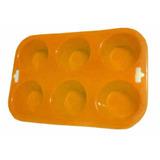 Forma Bolos Cupcakes 6 Cavidades Antiaderente Alça Silicone
