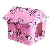 Casinha Cachorro Pequeno Casa Toca Pet Soft Pinguins Rosa