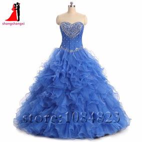 Vestido De Xv Años 15 Azul Corazón Pedrería Con Chaqueta