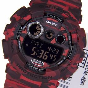 Relogio Casio G-shock Gd-120cm-4dr Camuflado Vermelho Gd120