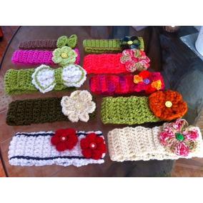 Set Crochet, Diademas Tejidas Con Flor Varios Colores