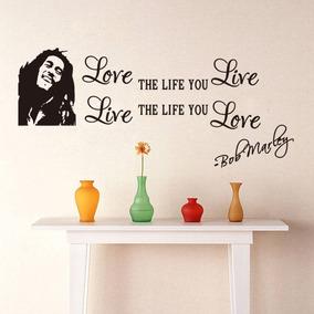 Adesivo De Parede Rosto Bob Marley Frase Reggae Decoração