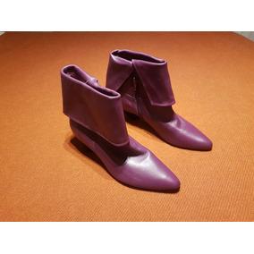Bota Mujer Caña Baja Cuero Purpura