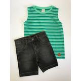 Conjunto Regata E Bermuda Jeans Planeta Pano - Menino