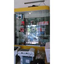 Exhibidor Grande, Cristal, Excelente 4 Lámparas, Doble Vista